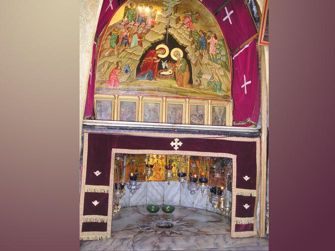Nơi Chúa Giêsu sinh ra được đánh dấu với ngôi sao 14 cánh